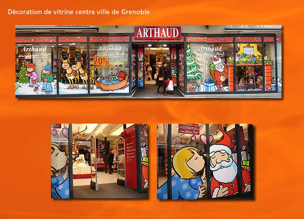Adhésif pour vitrine centre-ville de Grenoble Arthaud