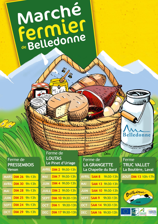 Affiche illustration du marché de Belledonne