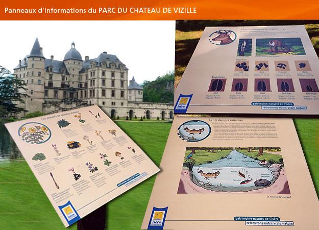 Panneau d'information, parc animalier du château de Vizille